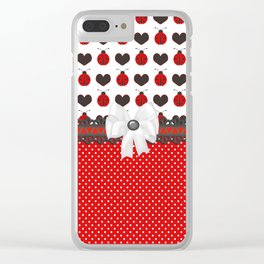 Ladybug and Hearts Clear iPhone Case