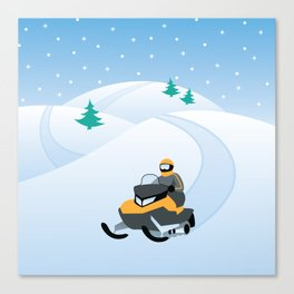 Snowmobiling on a Snowy Winter Day Canvas Print