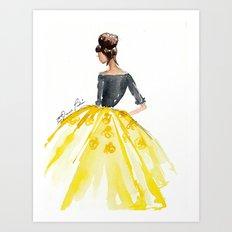Sunny Spring Yellow Skirt Fashion Illustration Art Print