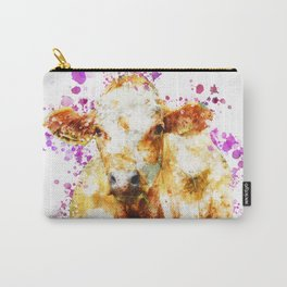 Watercolor Cow Painting, Cow Print, Cow Design, Watercolor Splatter Carry-All Pouch