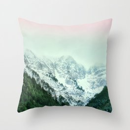 Snowy Winter Mountain Landscape with Alpenglow Throw Pillow