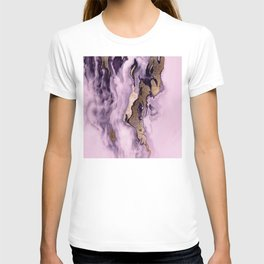 Pink-Lilac Faux Marble With Bronze Splash   T-shirt