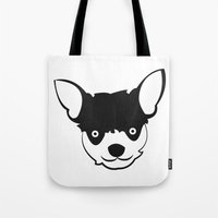 chihuahua Tote Bags featuring Chihuahua by anabelledubois