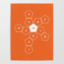 Orange Unrolled D12 Poster