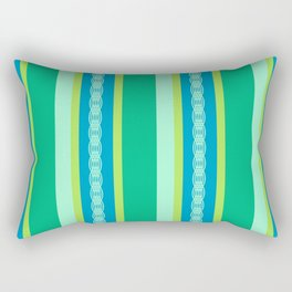 Mid-Century Awning Stripes, Jade Green and Blue Rectangular Pillow