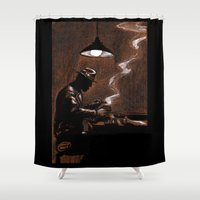 bar Shower Curtains featuring Noir Bar by David Miley