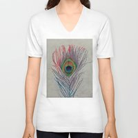 peacock feather V-neck T-shirts featuring Peacock Feather by Michael Creese
