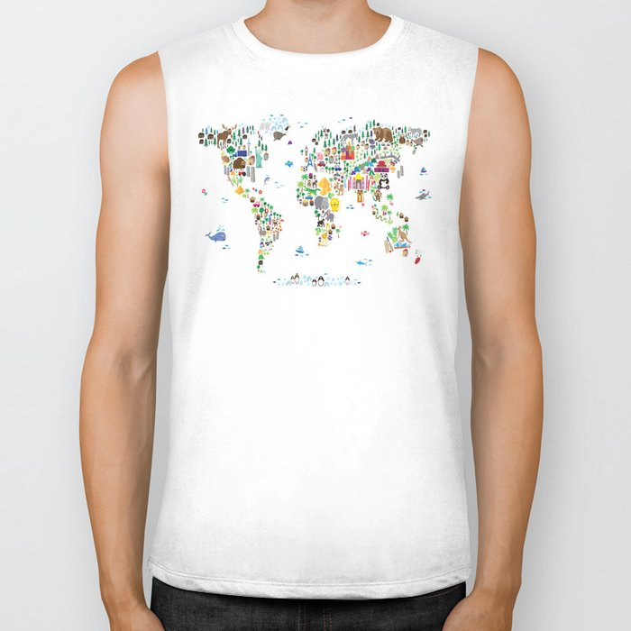 Animal Map of the World for children and kids Biker Tank