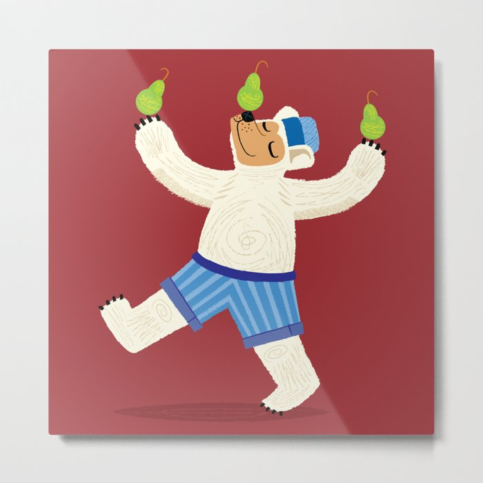 A Bear With Pears (colour variation) Metal Print