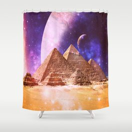 Galaxy Pyramids Shower Curtain