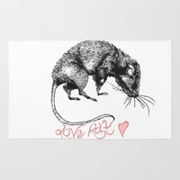 rat Area & Throw Rugs featuring love rat by Jess John