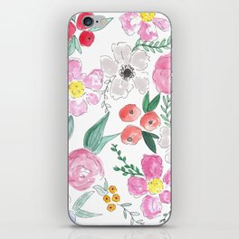 Floral Peony and Rose Watercolor Print  iPhone Skin