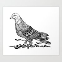 pigeon Art Prints featuring Pigeon by Christina Grace Vergona