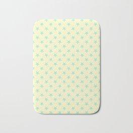 Magic Mint Green on Cream Yellow Stars Bath Mat