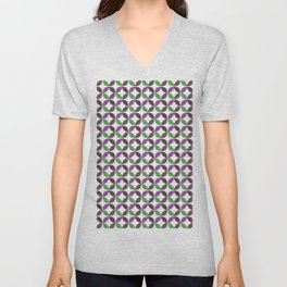 Abstract ultra violet green geometric quatrefoil pattern Unisex V-Neck