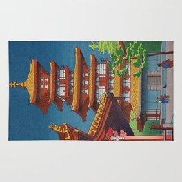 Japanese Woodblock Print Vintage Asian Art Colorful woodblock prints Pagoda Shinto Shrine Rug