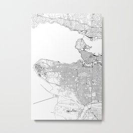 Vancouver White Map Metal Print