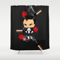 punisher Shower Curtains featuring Chibi Punisher by artwaste