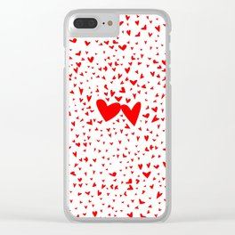 Red Tiny Love Hearts Background Clear iPhone Case