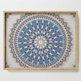 Bright Blue Marble Mandala Design Serving Tray