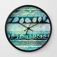 beach Wall Clocks featuring Dreamy Tribal Part VIII by Pom Graphic Design
