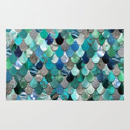 Mermaid Sea, Teal, Aqua, Silver, Grey Rug