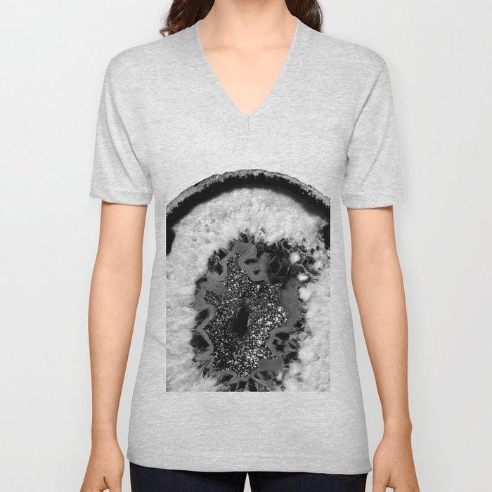 Gray Black White Agate Glitter Glamor #1 #gem #decor #art #society6 Unisex V-Neck