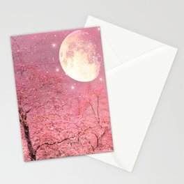 Surreal Fantasy Fairy Tale Pink Nature Trees Stars Full Moon Stationery Cards