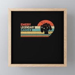 Emery Legendary Gamer Personalized Gift Framed Mini Art Print