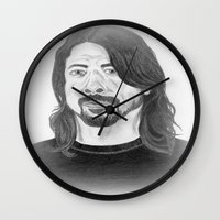 dave grohl Wall Clocks featuring Dave Grohl , Portrait Art by N_T_STEELART