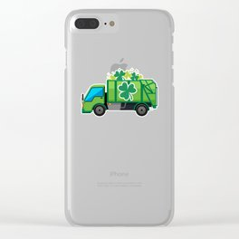 Clover Truck St Patricks Day Full Green Shamrock Clear iPhone Case