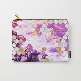 Seaside Print with Marble, Gold, Rose gold and Glitter geometric tiles Carry-All Pouch