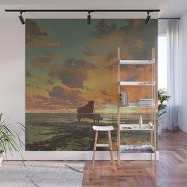 Fantasy Illustration Graphic Design Anime Japanese Inspired Landscape Beach Piano Sunset Wall Mural