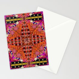 no. 250 black and white, pink ,orange, red ,with yellow  pattern Stationery Cards