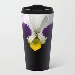 Watercolor of a white and purple pansy  Travel Mug