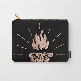 Campfire Rose Gold Flames Carry-All Pouch