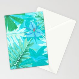 My blue abstract Aloha Tropical Flower Jungle Garden Stationery Cards