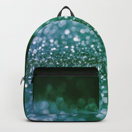 Aqua Glitter effect- Sparkling print in green and blue on #Society6 Backpack