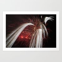 fireworks Art Prints featuring Fireworks by Carolina Jaramillo