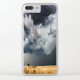 Cotton Candy - Storm Clouds Over Wheat Field in Kansas Clear iPhone Case