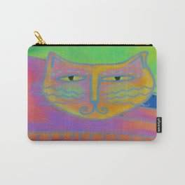 Colorful Abstract Cat Digital Painting  Carry-All Pouch
