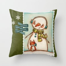 Fox and Friend - Snowman and Fox in the snow Throw Pillow
