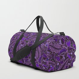 Ultraviolet Mushroom Wood, Field Ferns Leaves  in Lavender Purple Fungi Forest Painting Duffle Bag