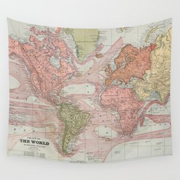 Vintage Map of The World (1883) 2 Wall Tapestry