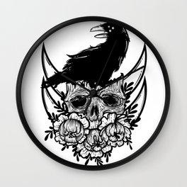skull, flowers and black raven Wall Clock