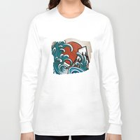 comic Long Sleeve T-shirts featuring Hokusai comic by Nxolab