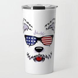 Westie Dog Face with American Flag Sunglasses Travel Mug