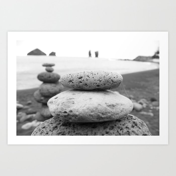 Rock Stacking Black And White Art Print By Limitlessdesign Society6