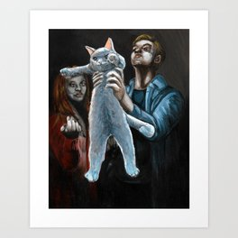 Adoration of the Long Cat Art Print