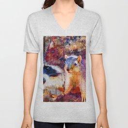 Squirrel And Raccoon Wildlife Art, Modern Nature Art Unisex V-Neck